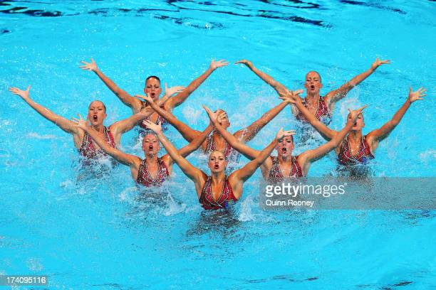 Canada competes in the Synchronized Swimming Team Technical preliminary round on day one of the 15th FINA World Championships at Palau Sant Jordi on...