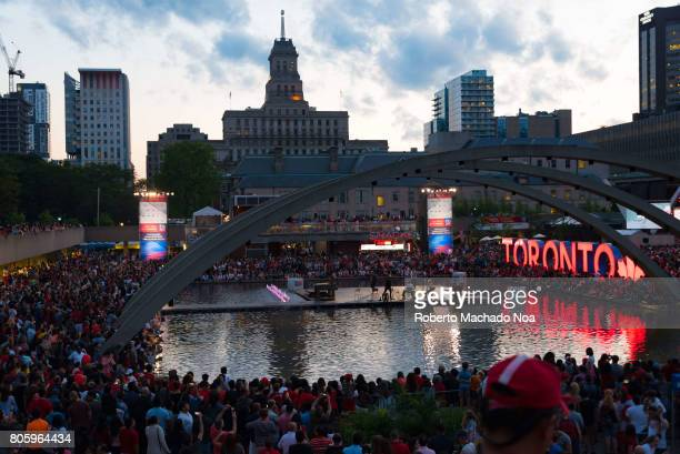 Canada Day 150th Anniversary of confederation Aerial view general ambience at Nathan Phillips Square as celebration enters the night
