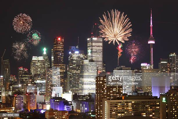 canada day fireworks over toronto - canada day stock pictures, royalty-free photos & images
