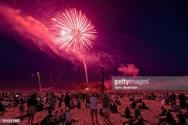 canada day fireworks - canada day stock pictures, royalty-free photos & images