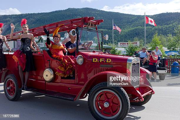 canada day parade, dawson city, yukon. - parade stock pictures, royalty-free photos & images
