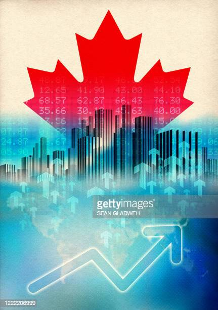 canada economic growth illustration - canada stock pictures, royalty-free photos & images