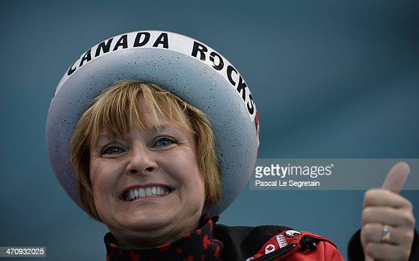 Canada fan shows support during the Men's Gold Medal match between Canada and Great Britain on day 14 of the Sochi 2014 Winter Olympics at Ice Cube...