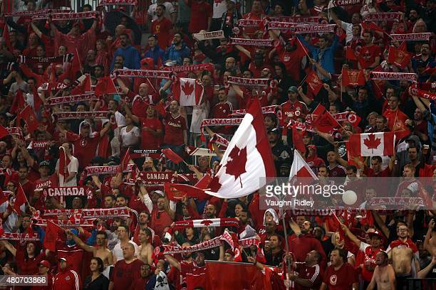 Canada fans during the 2015 CONCACAF Gold Cup Group B match between Canada and Costa Rica at BMO Field on July 14 2015 in Toronto Ontario Canada