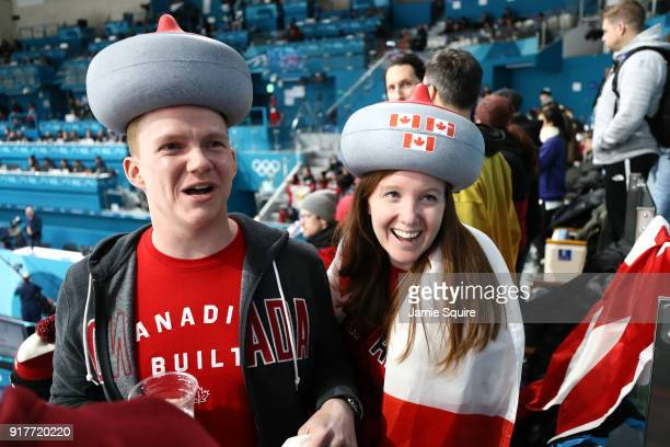 Canada fans look on during the Curling Mixed Doubles Gold Medal Game against Switzerland on day four of the PyeongChang 2018 Winter Olympic Games at...