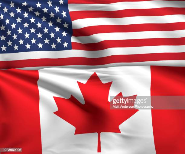 usa canada flag 8k resolution on white v1 - canadian flag stock pictures, royalty-free photos & images