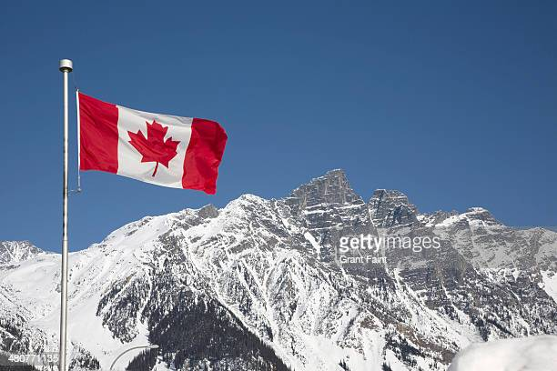 canada flag in mountains - canadian flag stock pictures, royalty-free photos & images