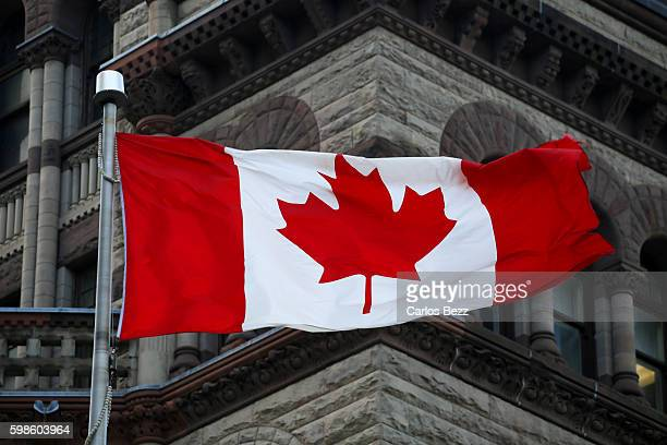 canada flag on parliament - parliament building stock pictures, royalty-free photos & images
