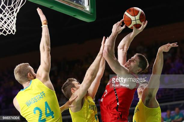 Canada forward Conor Morgan during the Men's Gold Medal Basketball Game between Australia and Canada on day 11 of the Gold Coast 2018 Commonwealth...
