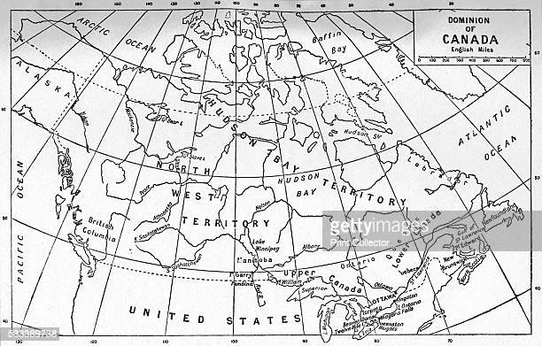 Canada' from 'Our Empire Story' by HE Marshall c1920 A map of the Dominion of Canada in English Miles