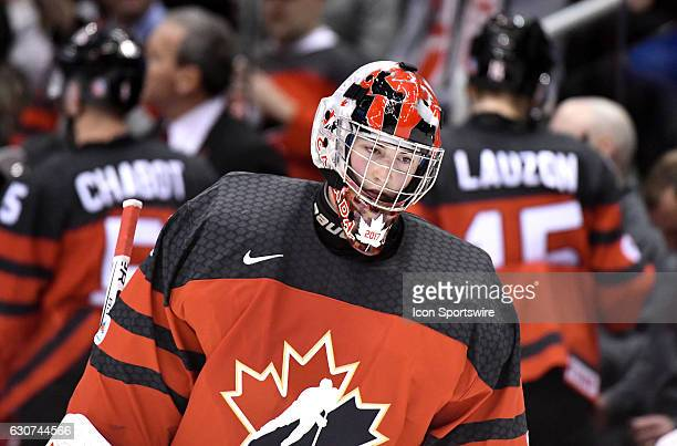 Canada goalie Connor Ingram skates back to his goal during a time out in a 31 loss to USA in the World Junior Hockey Championships on December 31 at...