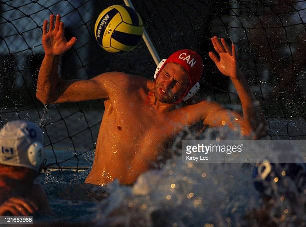 Canada goalkeeper Robin Randall defects a shot during 116 victory over Brazil in FINA World League semifinal at the USA Water Polo National Training...