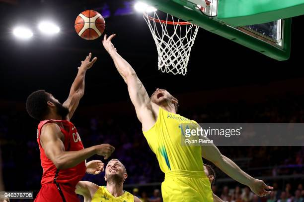 Canada guard/forward Justus Alleyn and Australia forward Angus Brandt during the Men's Gold Medal Basketball Game between Australia and Canada on day...