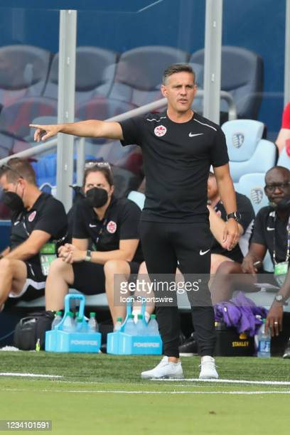 Canada head coach John Herdman in the first half of a Concacaf Gold Cup match between Haiti and Canada on Jul 15, 2021 at Children's Mercy Park in...