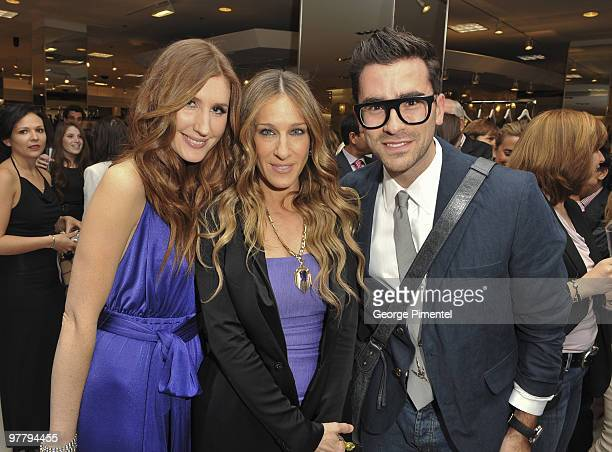 Canada Host Jessi Cruickshank Sarah Jessica Parker and MTV Canada host Dan Levy attend the launch of the Halston Heritage Collection at The Bay on...
