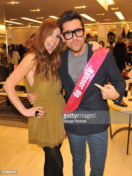 Canada hosts Jessi Cruickshank and Dan Levy attend Miss J Alexander's celebrity walkoff event and book signing at Holt Renfrew Bloor Street on March...