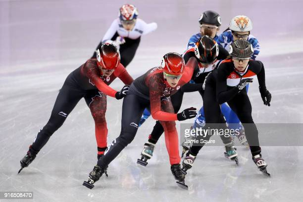 Canada Hungary Olympic Athlete from Russia and Korea compete during the Ladies' 3000m relay Short Track Speed Skating qualifying on day one of the...
