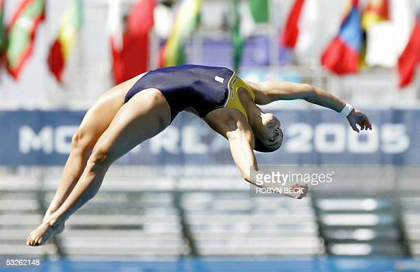 Juliana Veloso of Brazil performs in the Women's 10m Platform Diving competition 20 July 2005 at the XI FINA World Championships in Montreal Canada...