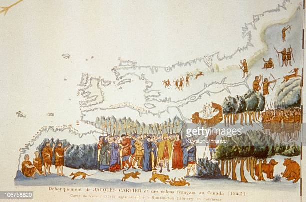 Canada, Landing Of Jacques Cartier And The French Settlers In 1542. 1846 Colored Lithography