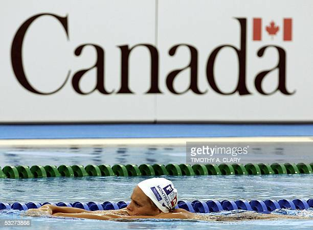 Laure Manaudou of France the country's first woman's Olympic swiming champion trains in the competition pool 22 July 2005 at the 2005 XI FINA World...