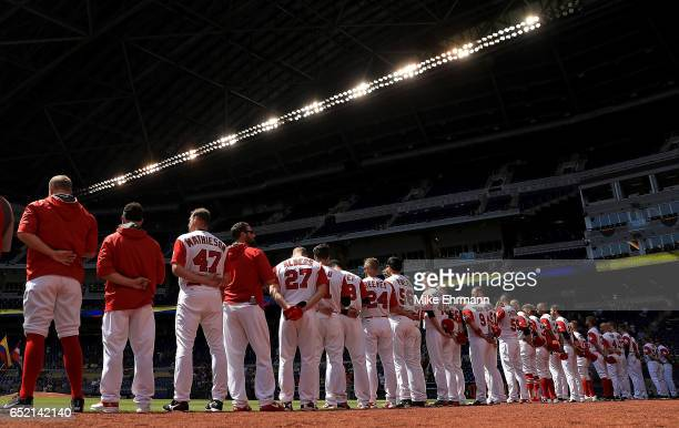 Canada lines up during a Pool C game of the 2017 World Baseball Classic against Colombia at Miami Marlins Stadium on March 11 2017 in Miami Florida