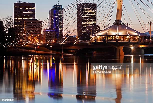 Canada, Manitoba, Winnipeg, Reflection of skyscrapers in river