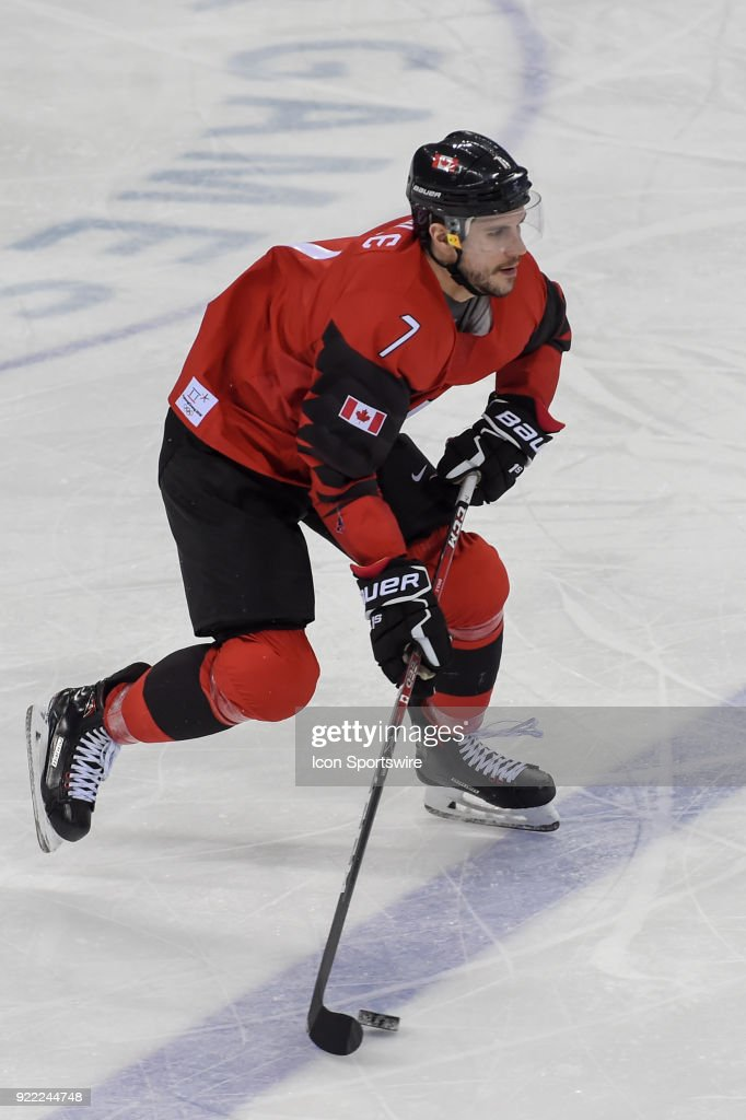 Canada men's hockey forward Gilbert Brulé (7) looks to pass during the men's hockey semi final game between Canada and Finland during the 2018 Winter Olympic Games at the Gangneung Hockey Center on February 21, 2018 in PyeongChang, South Korea. Canada advances to the gold medal game with 1-0 victory.