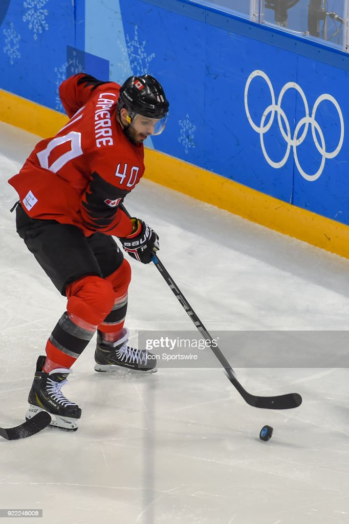Canada men's hockey forward Maxim Lapierre (40) looks to pass during the men's hockey semi final game between Canada and Finland during the 2018 Winter Olympic Games at the Gangneung Hockey Center on February 21, 2018 in PyeongChang, South Korea. Canada advances to the gold medal game with 1-0 victory.