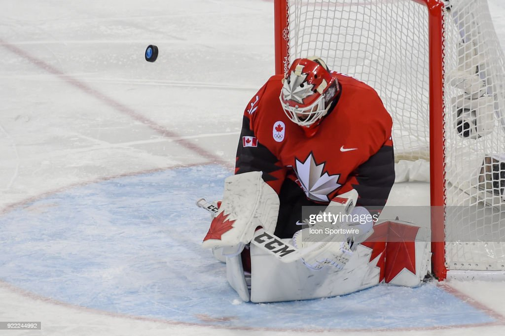 Canada men's hockey goalie Kevin Poulin (31) makes a third period save during the men's hockey semi final game between Canada and Finland during the 2018 Winter Olympic Games at the Gangneung Hockey Center on February 21, 2018 in PyeongChang, South Korea. Canada advances to the gold medal game with 1-0 victory.