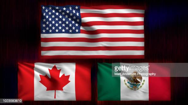 usa canada mexico flag 8k resolution on black v3 - bandera mexicana fotografías e imágenes de stock