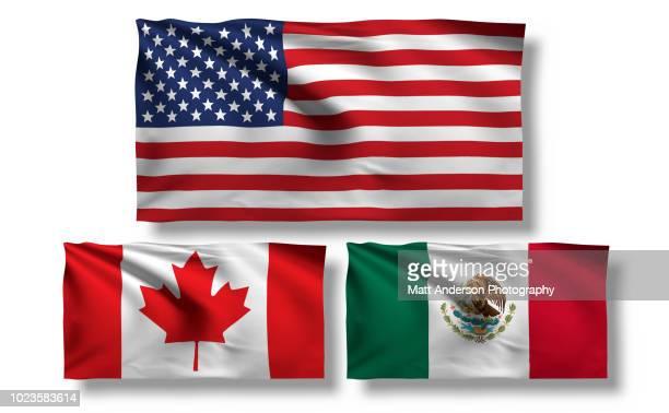 usa canada mexico flag 8k resolution on white v1 - bandera mexicana fotografías e imágenes de stock
