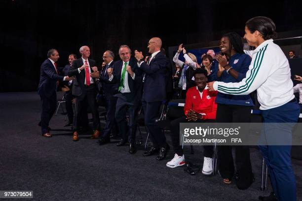 Canada Mexico USA delegations react after winning the FIFA World Cup 2026 bid during the 68th FIFA Congress at Expotsentr on June 13 2018 in Moscow...