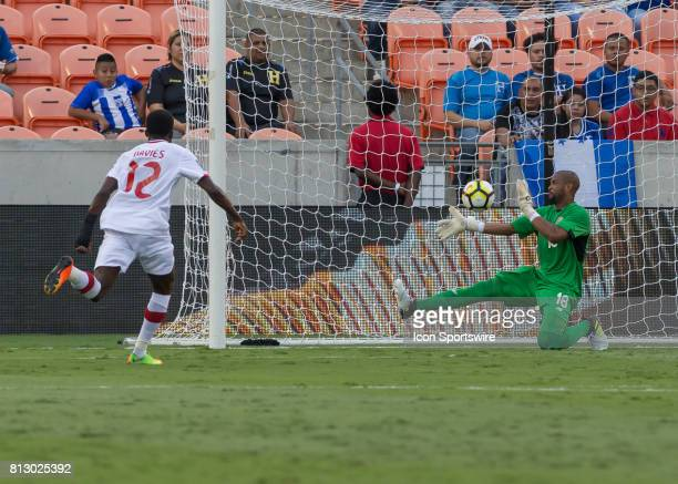 Canada midfielder Alphonso Davies scores in the first half of the CONCACAF Gold Cup Group A match between Costa Rica and Canada on July 11 2017 at...