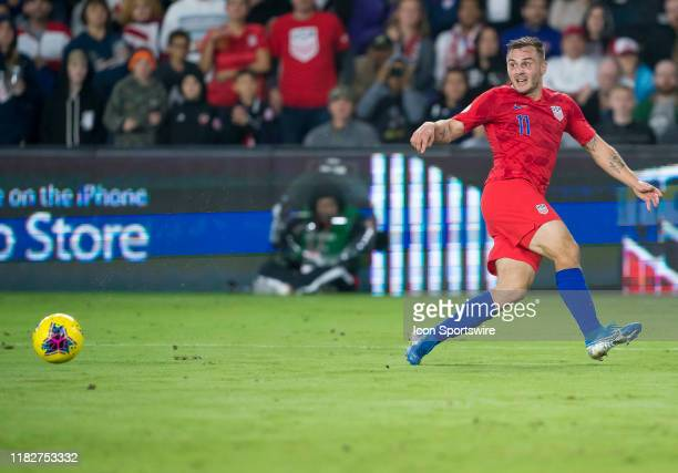 Canada midfielder Liam Millar passes the ball during the CONCACAF Nations League soccer match between the Canada and United States on November 15...