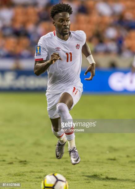 Canada midfielder Tosaint Ricketts takes the ball toward the goal zone during the CONCACAF Gold Cup Group A match between Costa Rica and Canada on...