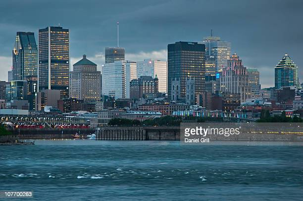 Canada, Montreal, skyline at sunset
