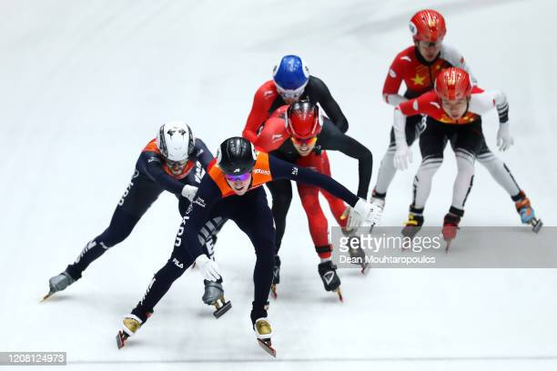 Canada Netherlands and China compete in the Men 5000m Relay Final during the ISU World Cup Short Track at Optisport Sportboulevard on February 16...