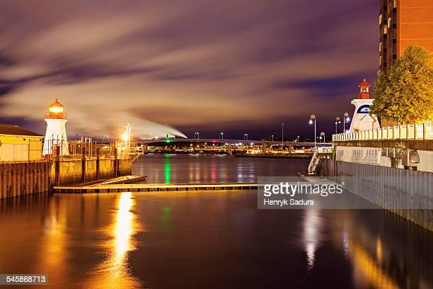 Canada, New Brunswick, Illuminated Saint John Coast Guard Base Lighthouse seen from harbor