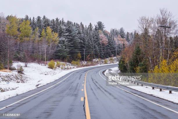 canada, new brunswick, miramichi river valley, upper blackville, highway 8, winter - east stock pictures, royalty-free photos & images