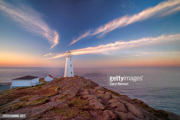 canada, newfoundland, cape spear lighthouse, summer, sunset - newfoundland and labrador stock pictures, royalty-free photos & images