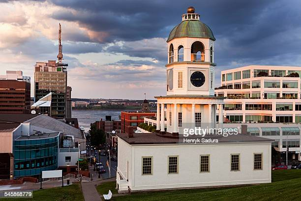 Canada, Nova Scotia, Halifax, Halifax Town Clock in evening sunlight