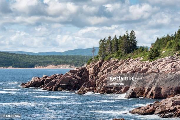 canada, nova scotia, ingonish, coastal landscape of cape breton highlands national park - cape breton island stock pictures, royalty-free photos & images