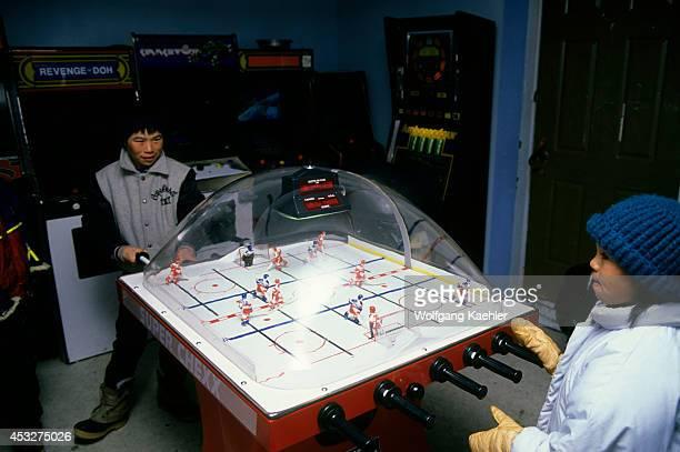 Canada Nunavut Cape Dorset Inuit Children Playing Table Hockey