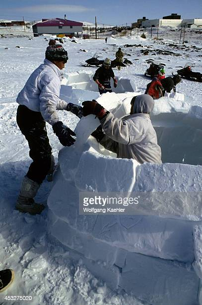 Canada Nwt Iqaluit Toonik Tyme Festival Igloo Building Contest For Children