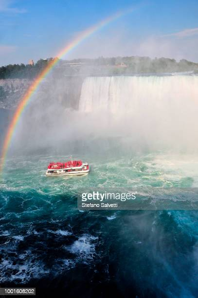 Canada, Ontario, rainbow and boat in niagara falls