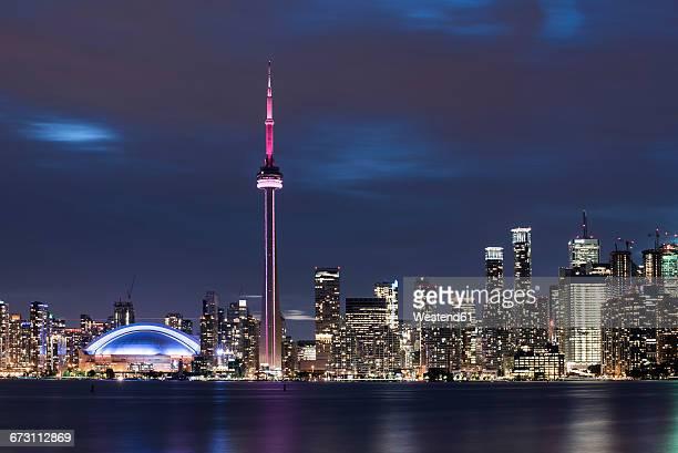 Canada, Ontario, Toronto, Skyline at night, moving clouds