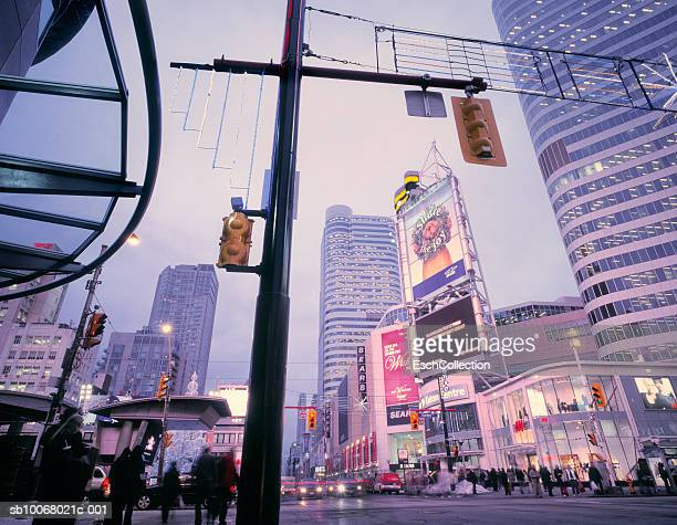 Canada, Ontario, Toronto, Yonge Street, People shopping for Christmas at Dundas Square