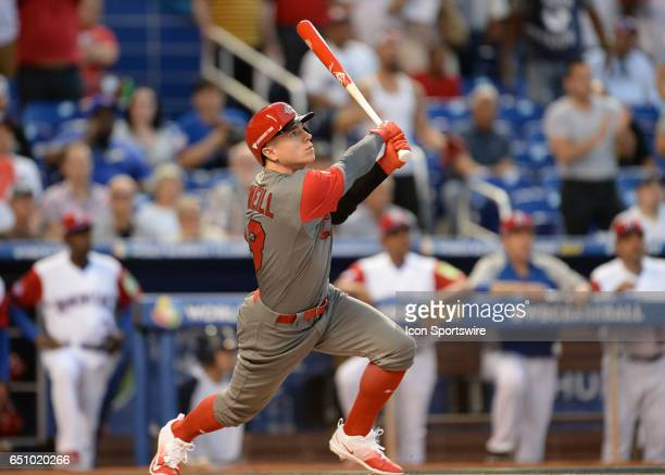 Canada outfielder Tyler ONeill during the World Baseball Classic 1st Round Pool C game between Canada and Dominican Republic on March 09 at Marlins...
