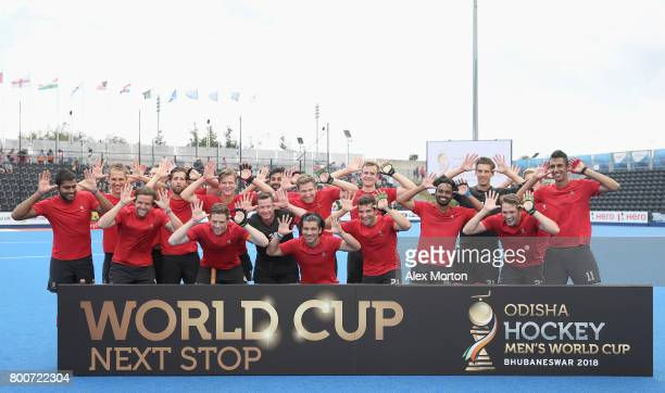 Canada players celebrate World Cup qualification after the 5th/6th place match between India and Canada on day nine of the Hero Hockey World League...