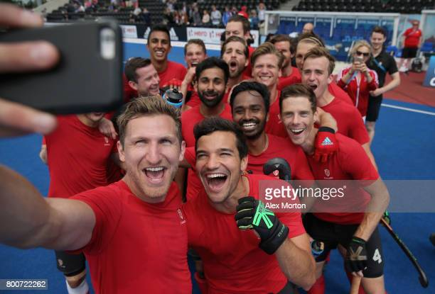 Canada players celebrate world cup qualification with a selfie after the 5th/6th place match between India and Canada on day nine of the Hero Hockey...